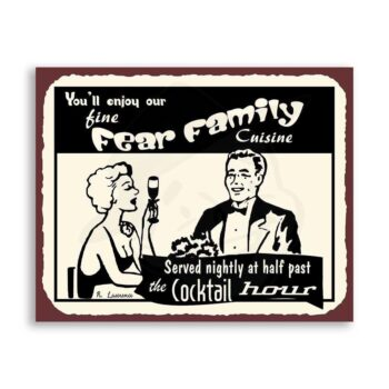 Fine Family Cuisine Happy Hour Custom Name Retro Kitchen Tin Sign