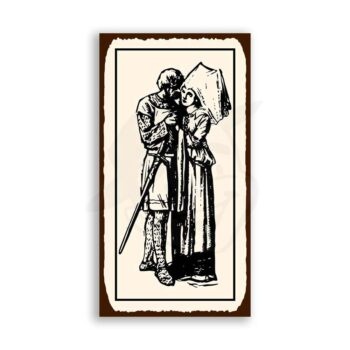 Knight Maiden Embrace Medieval Metal Art Retro Tin Sign