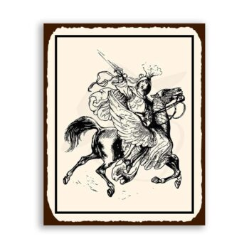 Knight On Winged Horse Medieval Metal Art Retro Tin Sign