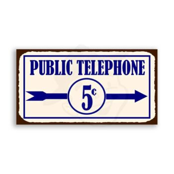 Public Telephone Vintage Metal Service Retro Tin Sign