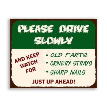 Please Drive Slowly Vintage Automotive Road Stop Retro Tin Sign