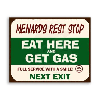 Menards Rest Stop Vintage Metal Art Automotive Retro Tin Sign