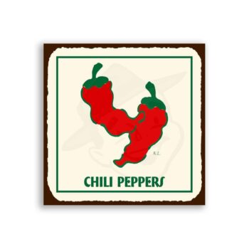 Chili Peppers Vintage Metal Art Mexican Retro Tin Sign