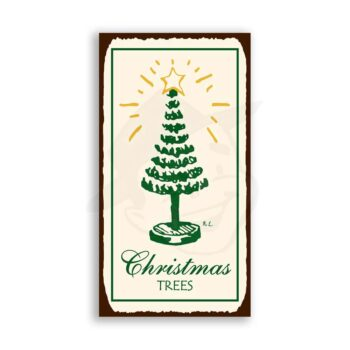 Christmas Trees Vintage Metal Art Holiday Retro Tin Sign