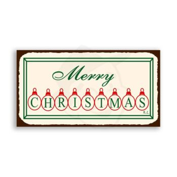 Merry Christmas Ornaments Vintage Metal Art Holiday Retro Tin Sign