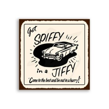 Get Spiffy In A Jiffy Vintage Metal Art Automotive Retro Tin Sign