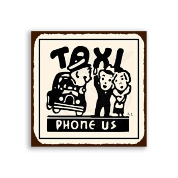 Taxi Phone Us Vintage Metal Art Automotive Retro Tin Sign
