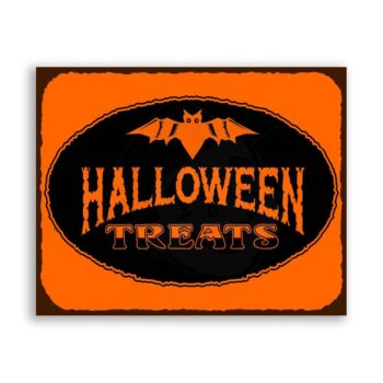 Halloween Treats Vintage Metal Art Retro Tin Sign