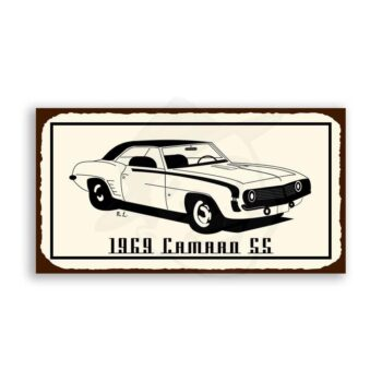 Camaro SS 1969 Vintage Metal Art Automotive Retro Tin Sign