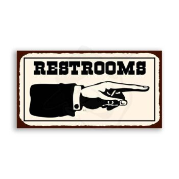 Restrooms To Right Western Metal Toilet Bathroom Retro Tin Sign