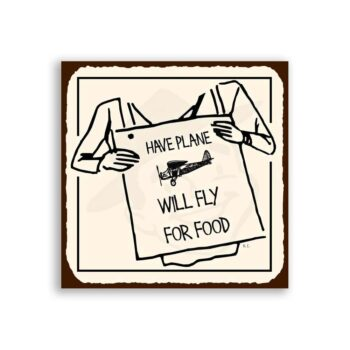 Will Fly For Food Vintage Metal Art Aviation Airplane Retro Tin Sign