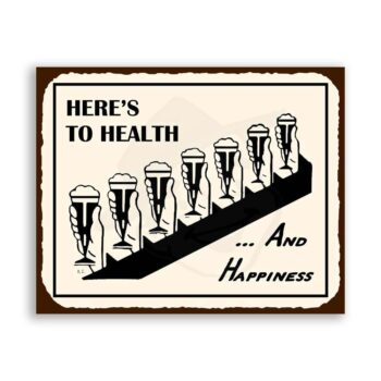 Health & Happiness Beer Vintage Metal Art Bar Retro Tin Sign