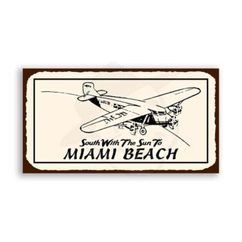 South To Miami Beach Retro Vintage Aviation Airplane Retro Tin Sign