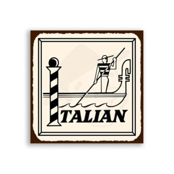 Italian Gondola Vintage Metal Art Italian Pizzeria Retro Tin Sign