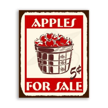 Apples For Sale Vintage Metal Art Country Retro Tin Sign