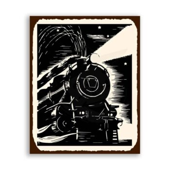 Train Engine  Vintage Metal Train Retro Tin Sign