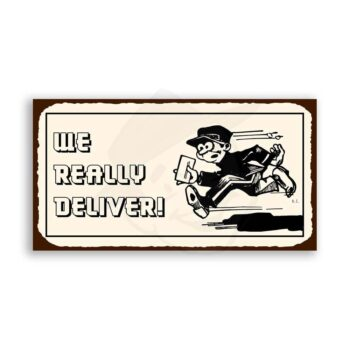 We Really Deliver Vintage Metal Art Restaurant Retro Tin Sign