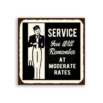 Service You Will Remember Vintage Metal Hospitality Retro Tin Sign