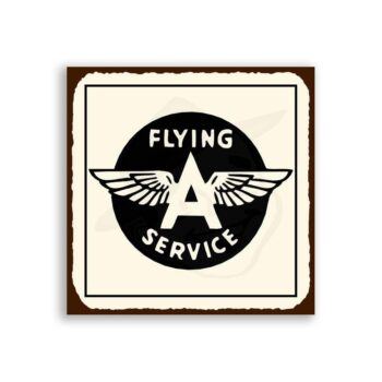 Flying A Service Vintage Airplane Aviation Tin Metal Retro Tin Sign