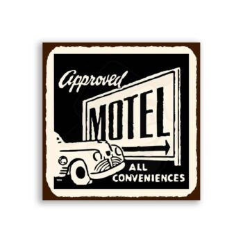 Approved Motel Conveniences Vintage Hospitality Retro Tin Sign