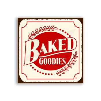 Baked Goodies Vintage Metal Art Retro Bakery Tin Sign