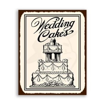 Wedding Cakes Vintage Metal Art Retro Bakery Tin Sign