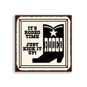 Its Rodeo Time Vintage Metal Art Western Cowboy Retro Tin Sign