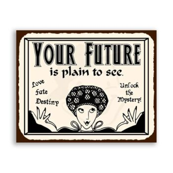 Your Future Is Plain To See Vintage Metal Tarot Reading Tin Sign