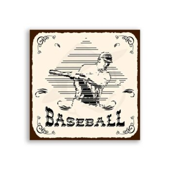 Baseball In Diamond Vintage Metal Art Sports Retro Tin Sign