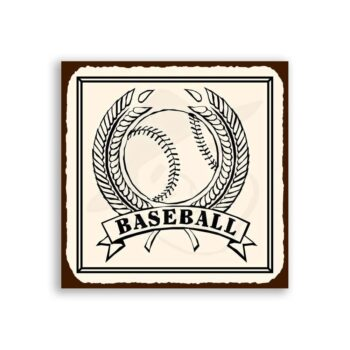 Baseball Wheat Vintage Metal Art Sports Retro Tin Sign