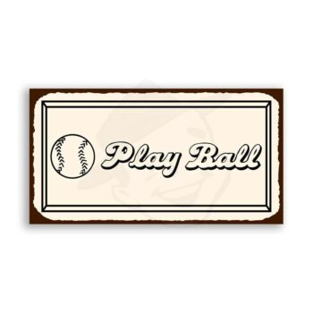 Play Ball Baseball Vintage Metal Art Sports Retro Tin Sign