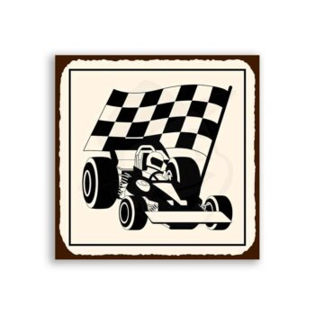 Race Car Checkered Flag Vintage Metal Art Automotive Retro Tin Sign