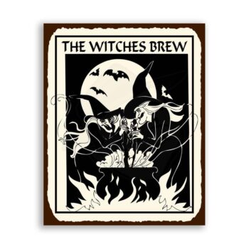 Witches Brew Halloween Vintage Metal Art Retro Tin Sign