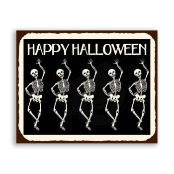Skeletons Halloween Vintage Metal Art Retro Tin Sign