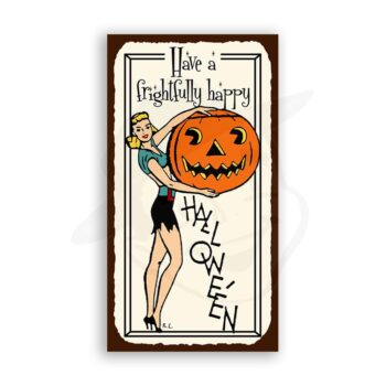 Have A Frightfully Happy Halloween Vintage Metal Art Retro Tin Sign