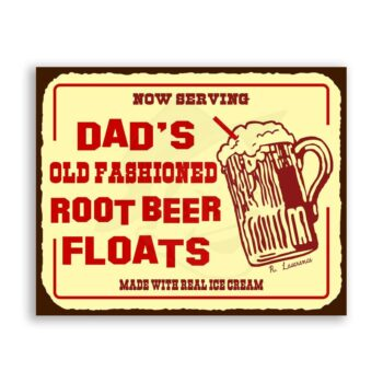 Dads Root Beer Floats Vintage Metal Art Diner Retro Tin Soda Sign