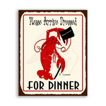 Lobster Dressed For Dinner Vintage Metal Art Beach Seafood  Tin Sign