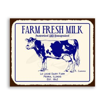 Farm Fresh Milk Cow Vintage Metal Art Country Farm Retro Tin Sign