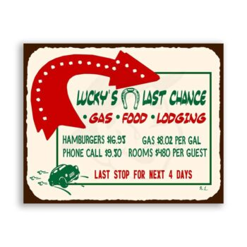 Luckys Last Stop Vintage Metal Art Automotive Retro Tin Sign