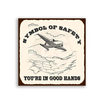Airplane Safety Symbol Vintage Aviation Airplane Retro Tin Sign