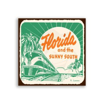Florida Sunny South  Vintage Metal Art Florida Retro Tin Sign