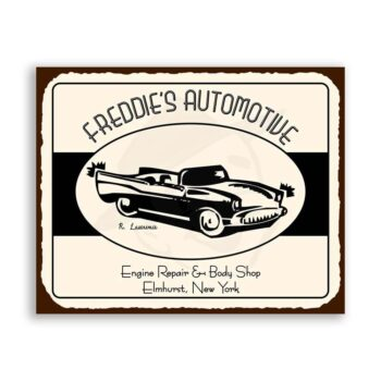 Freddies Automotive Vintage Metal Art Car Retro Tin Sign