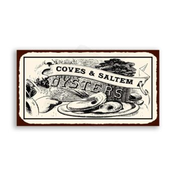 Oysters Cove & Saltem Vintage Metal Art Beach Seafood Retro Tin Sign