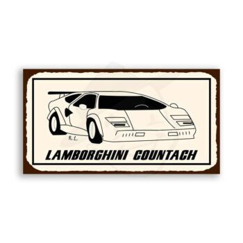 Lamborghini Countach Vintage Metal Art Automotive Retro Tin Sign