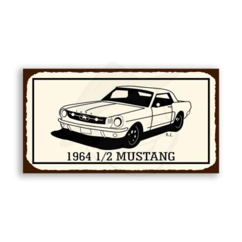 Mustang 1964 1/2 Vintage Metal Art Automotive Retro Tin Sign