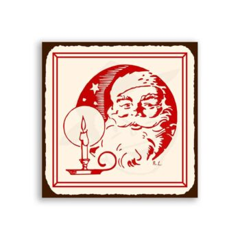 Santa & Candle Vintage Metal Art Christmas Retro Tin Sign