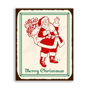 Santa Toy Bag Vintage Metal Art Christmas Retro Tin Sign Wall Decor