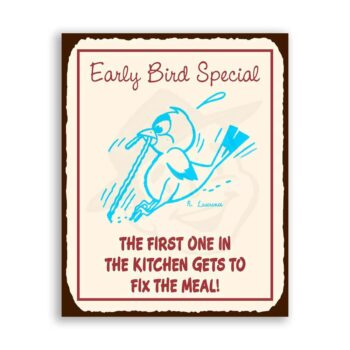 Early Bird Vintage Metal Art Restaurant Service Retro Tin Sign