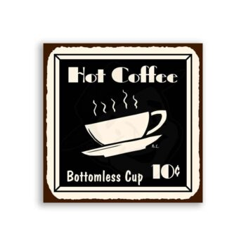 Coffee Bottomless Vintage Metal Art Coffee Shop Diner Retro Tin Sign