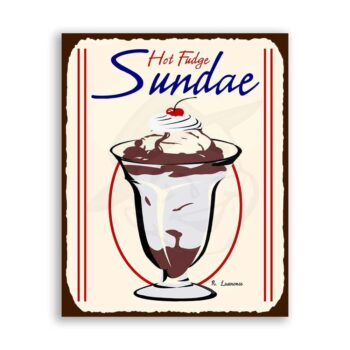 Hot Fudge Sundae Vintage Metal Art Ice Cream Shop Retro Tin Sign